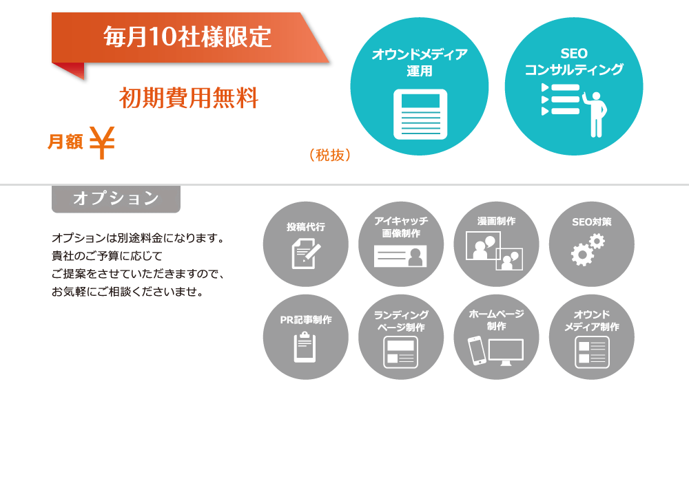 毎月10社様限定 初期費用無料 月額 ¥580,000~