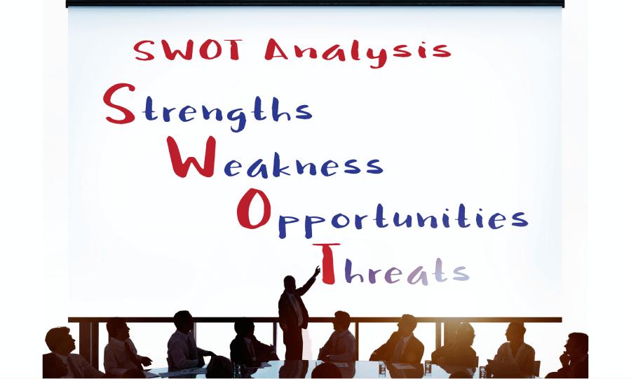 自社分析 SWOT分析とは、強み (Strengths)、弱み (Weaknesses)、機会 (Opportunities)、脅威 (Threats)の4つの単語の頭文字をとったもの
